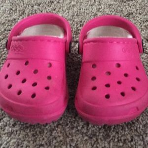Pink fur lined toddler Crocs